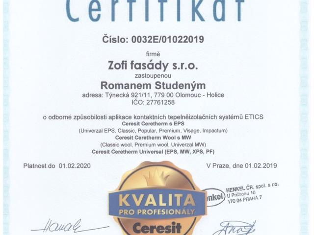 Obrázek 2 pro článek Certifikáty CERESIT pro celý tým ZOFI
