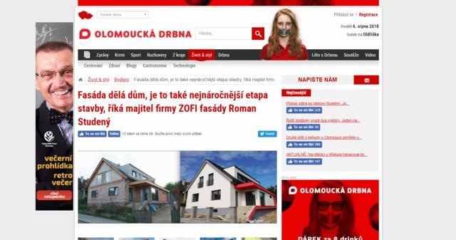 Obrázek 1 pro článek Na Olomoucké drbně vyšel článek o našem fasádním centru ZOFI