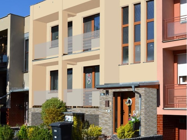Obrázek 6 pro referenci Grafický návrh fasády s betonovým obkladem na řadovém RD