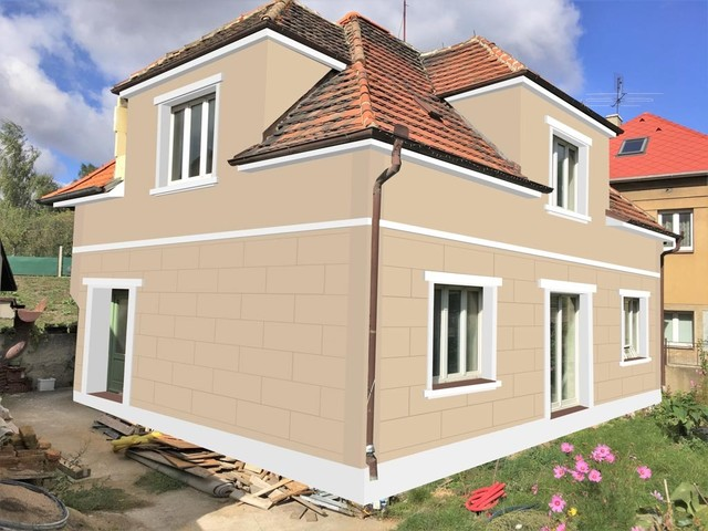 Obrázek 3 pro referenci Grafický návrh fasády staršího RD, dekorativní římsy, elegantní vzor