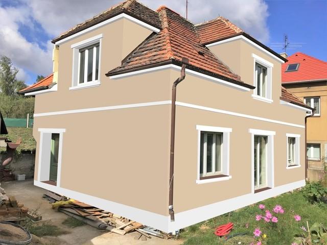 Obrázek 4 pro referenci Grafický návrh fasády staršího RD, dekorativní římsy, elegantní vzor