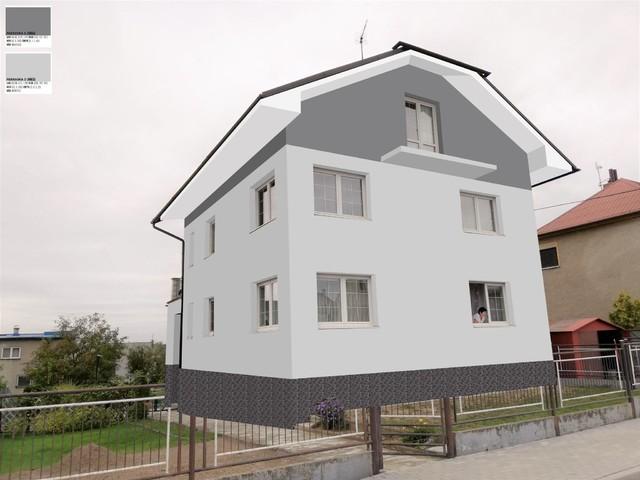 Obrázek 4 pro referenci Grafický návrh fasády RD před rekonstrukcí, barevné rozvržení, podbití, sokl