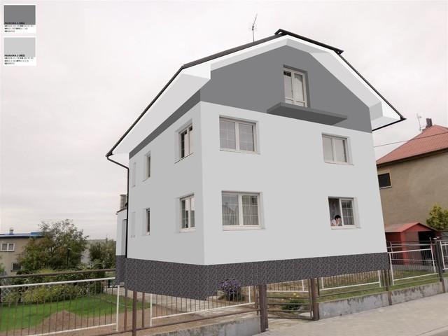 Obrázek 5 pro referenci Grafický návrh fasády RD před rekonstrukcí, barevné rozvržení, podbití, sokl