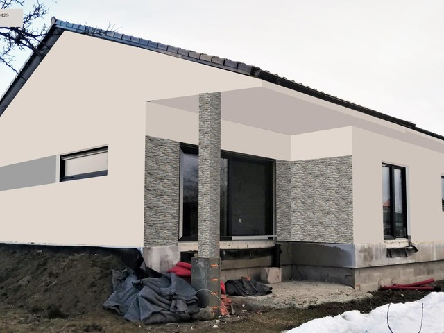 Obrázek 3 pro referenci Grafický návrh fasády novostavby domu s betonovým obkladem STEGU