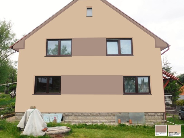 Obrázek 3 pro referenci Grafický návrh fasády RD v hnědých odstínech, šambrány, dekorativní pruhy