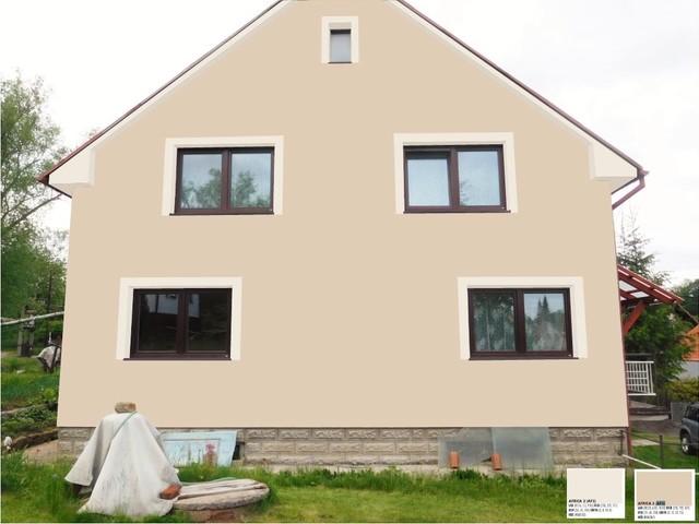 Obrázek 4 pro referenci Grafický návrh fasády RD v hnědých odstínech, šambrány, dekorativní pruhy