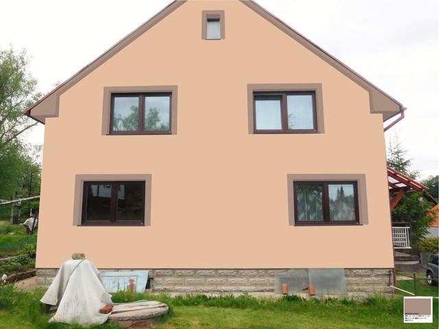 Obrázek 6 pro referenci Grafický návrh fasády RD v hnědých odstínech, šambrány, dekorativní pruhy