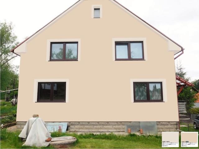 Obrázek 5 pro referenci Grafický návrh fasády RD v hnědých odstínech, šambrány, dekorativní pruhy