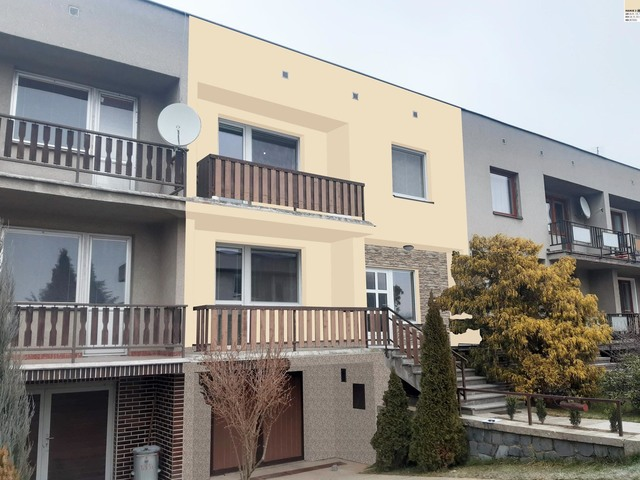 Obrázek 1 pro referenci Grafický návrh fasády řadového domu s kamenným obkladem