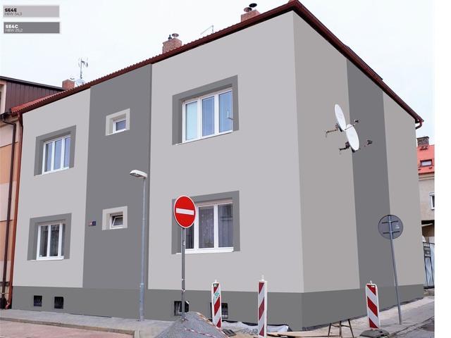 Obrázek 1 pro referenci Grafický návrh fasády bytového domu v odstínech BAUMIT
