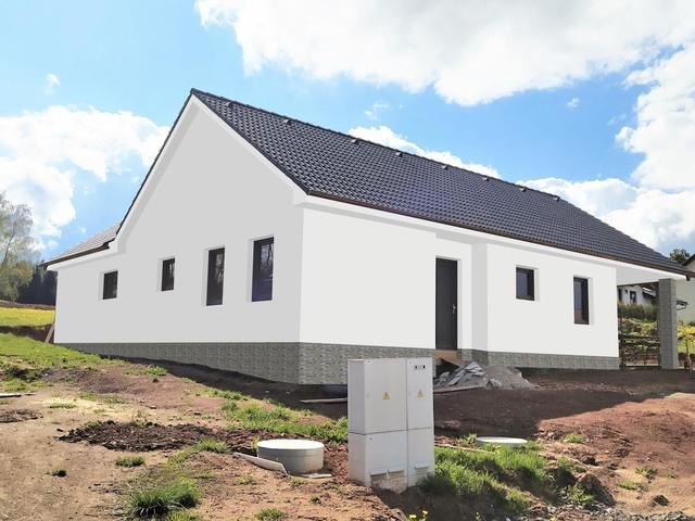Obrázek 1 pro referenci Grafický návrh fasády novostavby domu s obkladovým kamenem.