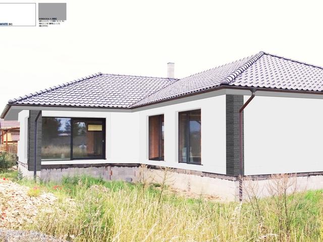Obrázek 1 pro referenci Grafický návrh fasády novostavby bungalovu s obkladovým páskem