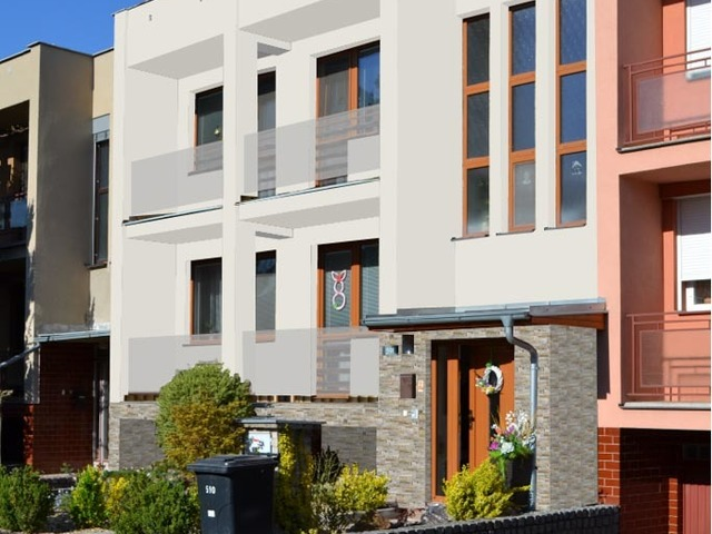 Obrázek 1 pro referenci Grafický návrh fasády s betonovým obkladem na řadovém RD