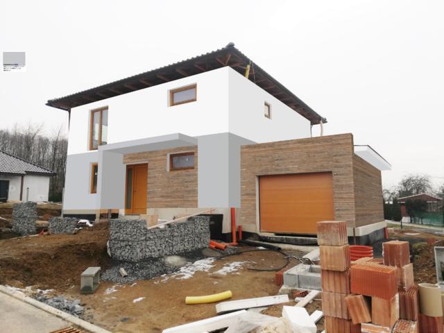 Obrázek 1 pro referenci Grafický návrh novostavby RD s modřínovým dřevěným obkladem