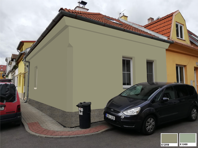 Obrázek 1 pro referenci Grafický návrh fasády rodinného domu v zelených odstínech