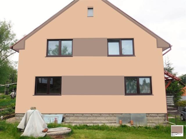 Obrázek 1 pro referenci Grafický návrh fasády RD v hnědých odstínech, šambrány, dekorativní pruhy